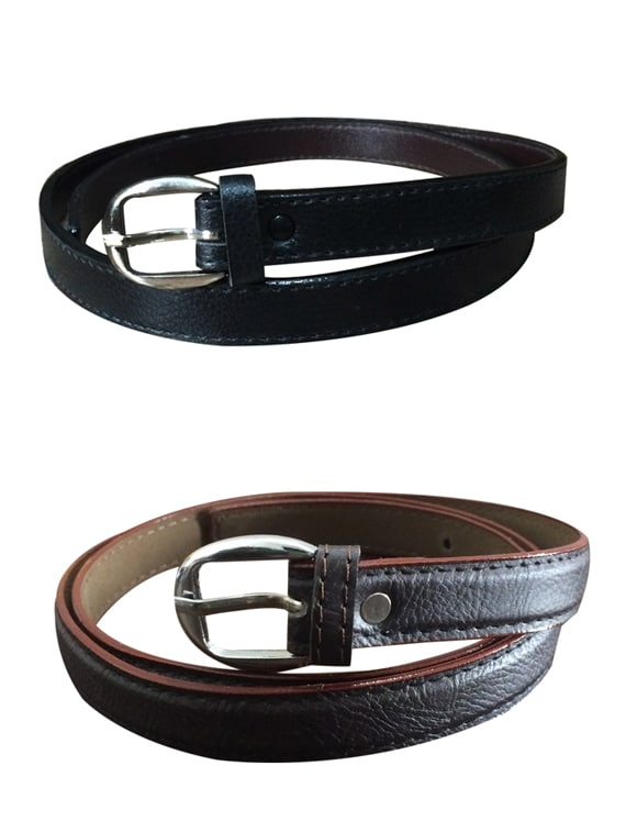 Black, Brown Leatherette Combos Belt - By
