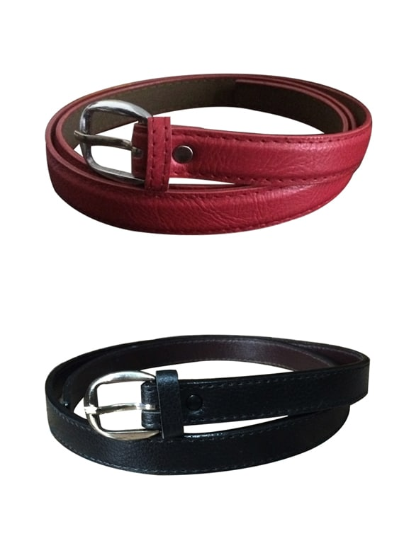 Red, Black  Leatherette Combos Belt - By
