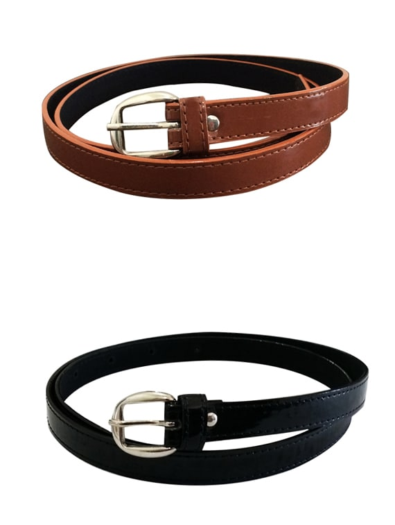 Brown, Black Leatherette Combos Belt - By