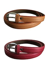 Beige, Red  Leatherette Combos Belt - By