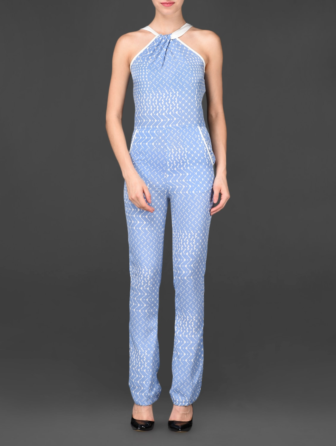 Sleeveless Blue Printed Poly Crepe Jumpsuit - Urban Helsinki