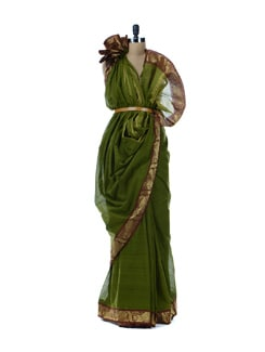 Green And Maroon Bordered Cotton Saree - Platinum Sarees