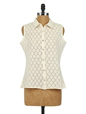 Cotton Floral Lace Top - Sepia