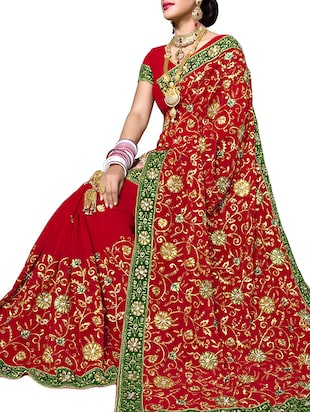 red faux georgette saree