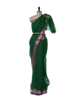 Green Saree With Purple Border - Platinum Sarees