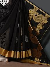 Zari Embroidered Tussar Cotton Silk Saree - Purple Oyster
