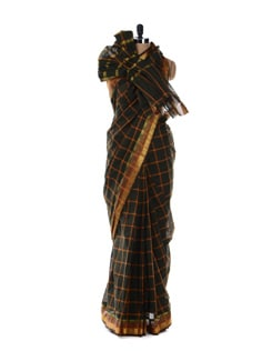 Green Saree With Check Print - Platinum Sarees