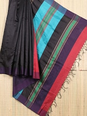 Handwoven Raw Silk Black Saree - Cotton Koleksi