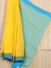 Yellow And Blue Bengal Cotton Saree - Cotton Koleksi
