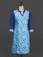 Blue Floral Print Cotton Kurti - Ayaany