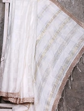 White Woven Cotton Silk Handloom Saree - Creation