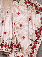 Beige Embroidered Art Silk Saree - Creation