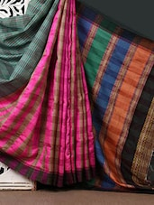 Pink Checked Silk Saree With Striped Aanchal - CHITRANSH
