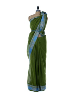 Green Saree With Blue Border - Platinum Sarees