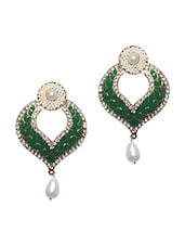 Beautiful Green Pearl Embellished Earrings - Bazarvilla