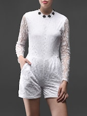 Poly-lace Long Sleeves Romper - Liebemode