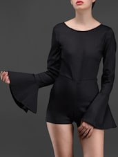 Black Long Bell Sleeves Romper - Liebemode
