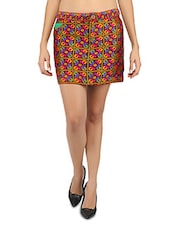 Geometric Pattern Polyester Jacquard Mini Skirt - Desiweaves