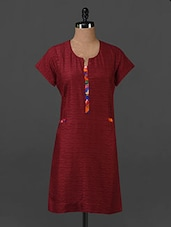 Maroon Plain Solid Cotton Tunic - Tissu