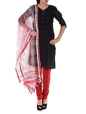 Red And Black Unstitched Suit Piece - Rooh