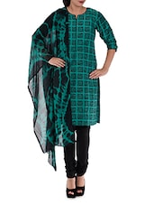 Green And Black Unstitched Suit Piece - Rooh