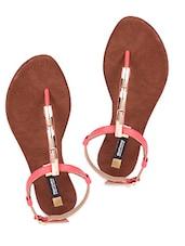 Red Sling Back Flat Sandals - Karizma Shoes