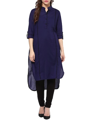 blue cotton high low kurta