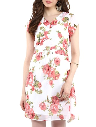 white floral georgette dress