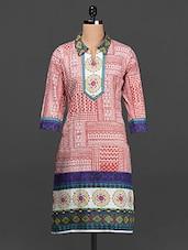 Shirt Collar Quarter Sleeves Cotton Kurta - SHREE
