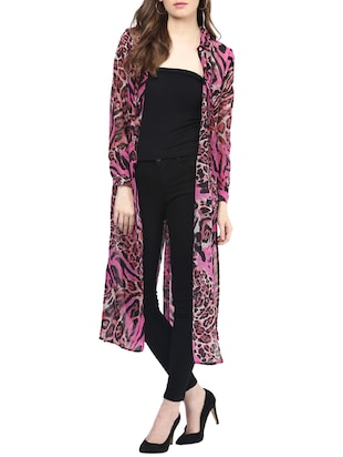 pink, black viscose shrug