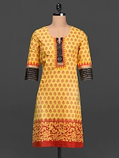 Ethnic Print Quarter Sleeves Cotton Kurta - SHREE
