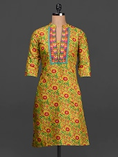 Floral Print Quarter Sleeves Cotton Kurta - SHREE