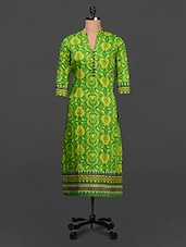 Green Ethnic Print Cotton Kurta - SHREE