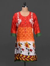 Button Down Round Neck Printed Kurta - SHREE