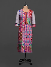 Geometric Print Quarter Sleeves Cotton Kurta - SHREE