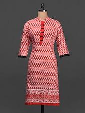 Red Printed Cotton Kurta - SHREE