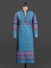 Blue & Black Printed Cotton Kurta - SHREE