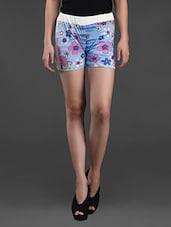 Floral Printed Cotton Shorts - Plums&Peaches