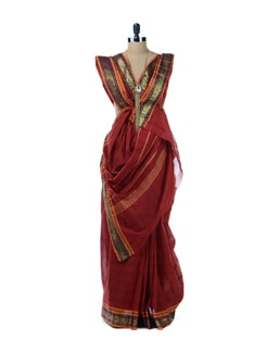 Red Printed Saree With Purple Border - Platinum Sarees