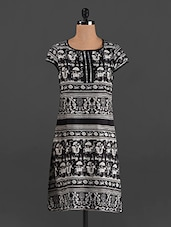 Black Printed Round Neck Cotton Kurti - MOTIF