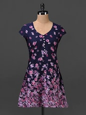Navy Blue Floral Print Crepe Tunic - MOTIF