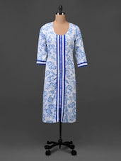 White & Blue Floral Print  Cotton Kurta - MOTIF