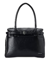 Solid Black Buckle Up Handbag - Donna & Drew