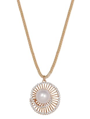 Snail Inspired Gold Plated Pearl Necklace -  online shopping for Necklaces