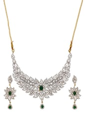American Diamond Embellished Floral Leaf Necklace Set - ESmartdeals