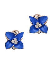 Blue Flower Crystal Stud Earring - ESmartDeals