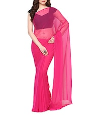 Pink Chiffon Saree With Blouse - AKSARA