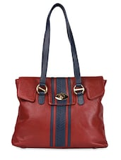 Cherry Red Leather Shoulder Tote - HIDESIGN