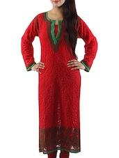 Red Faux Georgette Chikankari Kurta - By