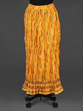 Yellow Block Printed Long Skirt - Soundarya